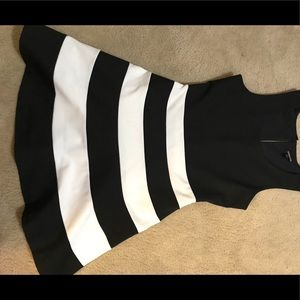 Black and white striped express dress